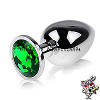 Анальная игрушка анальная пробка с кристаллом металлическая свело зеленый кристалл, фото 3
