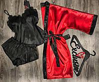 Женский атласный набор халат и пижама(майка+шорты) 081-020 красно-черный.