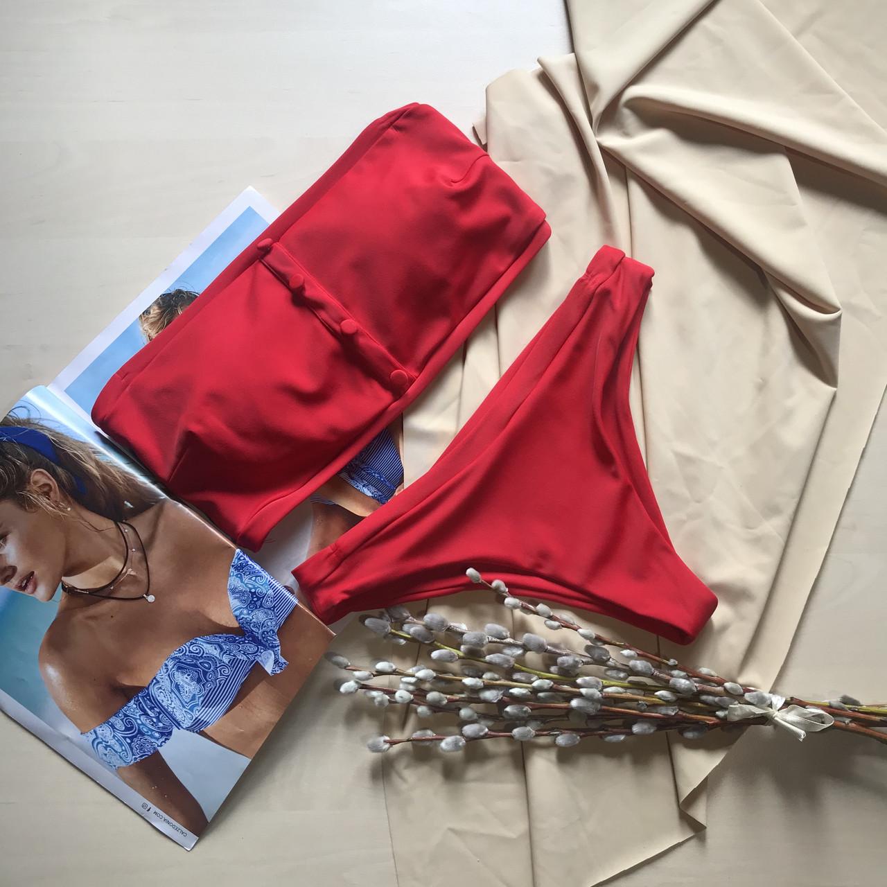 Купальник раздельный лиф бандо красный цвет размер S Украина ОПТ и Дроп