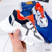 Кросівки жіночі Vix білий + помаранчевий / Кроссовки женские Vix белый + оранжевый