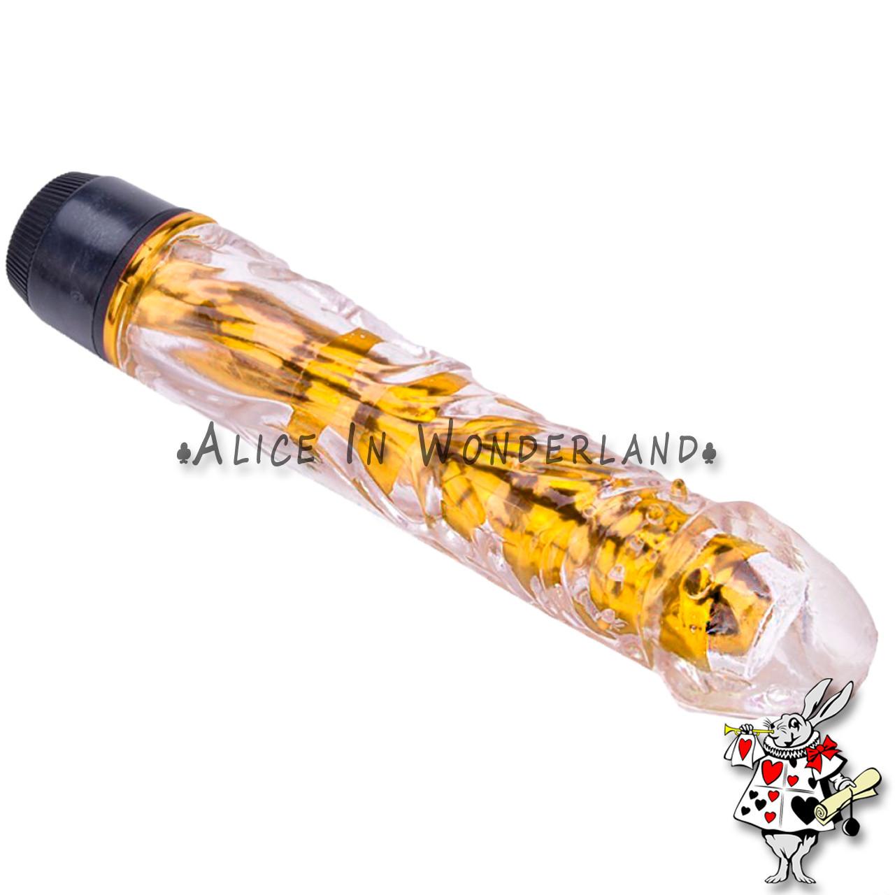 Секс игрушка вагинальный вибратор золотого цвета в коробке