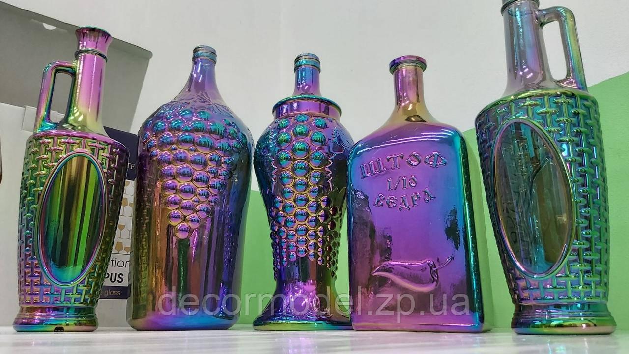 "Бутылка виноград декоративная ""СИЯНИЕ"" / пляшка (цвет: РАДУГА)"