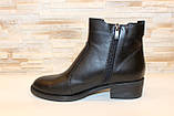 Ботильоны женские черные натуральная кожа на небольшом каблуке Д640, фото 3