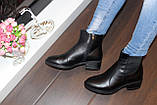 Ботильоны женские черные натуральная кожа на небольшом каблуке Д640, фото 4