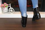 Ботильоны женские черные натуральная кожа на небольшом каблуке Д640, фото 5