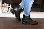 Ботильоны женские черные натуральная кожа на небольшом каблуке Д640, фото 6
