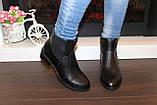 Ботильоны женские черные натуральная кожа на небольшом каблуке Д640, фото 7