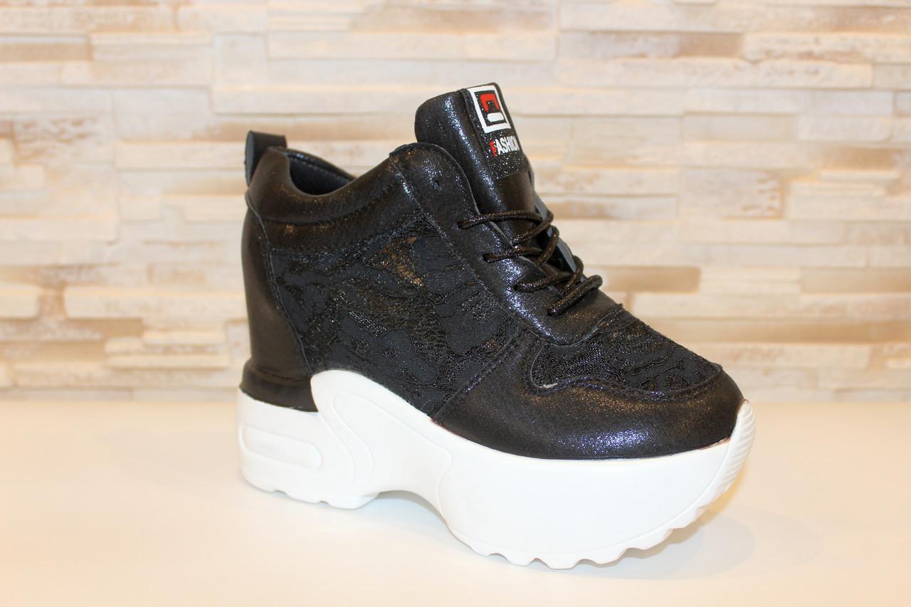 Снікерси кросівки жіночі чорні з мереживними вставками Т045