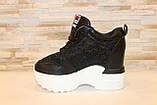 Снікерси кросівки жіночі чорні з мереживними вставками Т045, фото 2