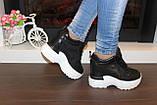 Снікерси кросівки жіночі чорні з мереживними вставками Т045, фото 3