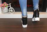 Снікерси кросівки жіночі чорні з мереживними вставками Т045, фото 4