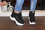 Снікерси кросівки жіночі чорні з мереживними вставками Т045, фото 5