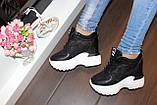 Снікерси кросівки жіночі чорні з мереживними вставками Т045, фото 6