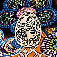Іграшка фігурка з фанери декор Писанка з зайчиками