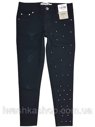 Стильные джинсы с потёртостями и заклепками для девочки 7 - 8 лет, р. 128, Denim Co