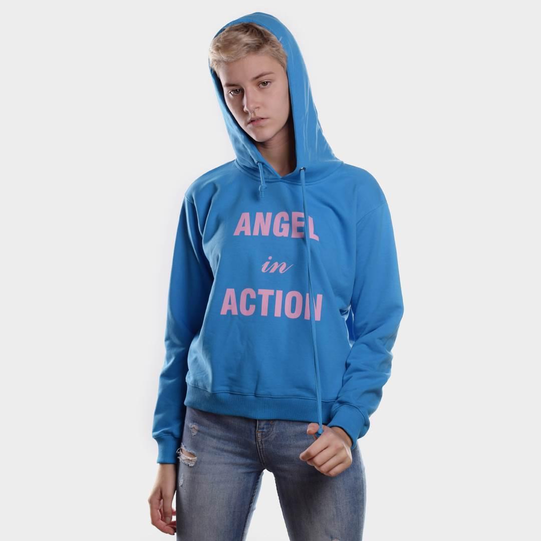 Толстовка женская ANGEL IN ACTION небесно-голубая