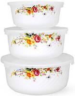 "Набор 3 салатника ""Чайная Роза"" Ø12.5см, Ø15см и Ø18см с крышками, стеклокерамика"