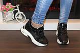 Кроссовки сникерсы женские черные летние Т051, фото 3