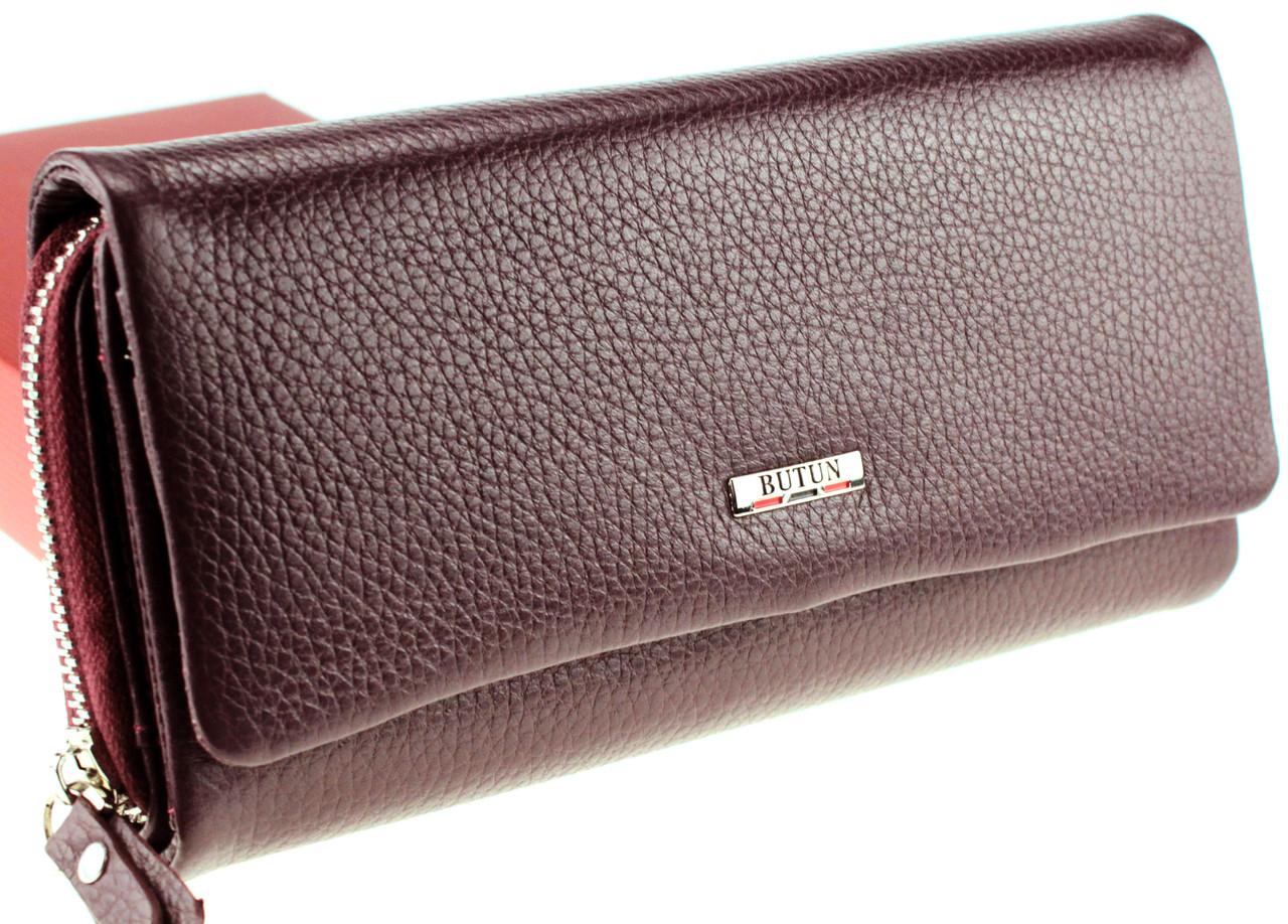 Большой женский кошелек кожаный бордовый BUTUN 587-004-002