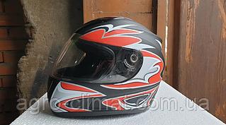 Шлем для мотоцикла Hel-Met 160 черный мат с красным уценка