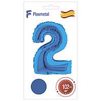 """Фольгована кулька цифра синій в упаковці """"2"""" 40 Flexmetal"""