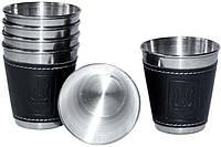Набор 6 дорожных стальных стопок (рюмок) Dynasty 50мл в чехле