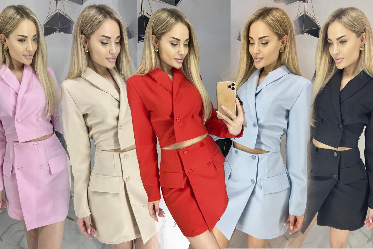 Женский костюм-двойка укороченный пиджак и юбка /разные цвета, 42-46, ft-475/