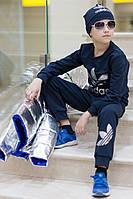 Детский костюм унисекс Адидас с шапкой синий, фото 1