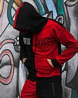 Весенний спортивный костюм мужской Sad & Smile │ Черно-красный (S, M, L, )