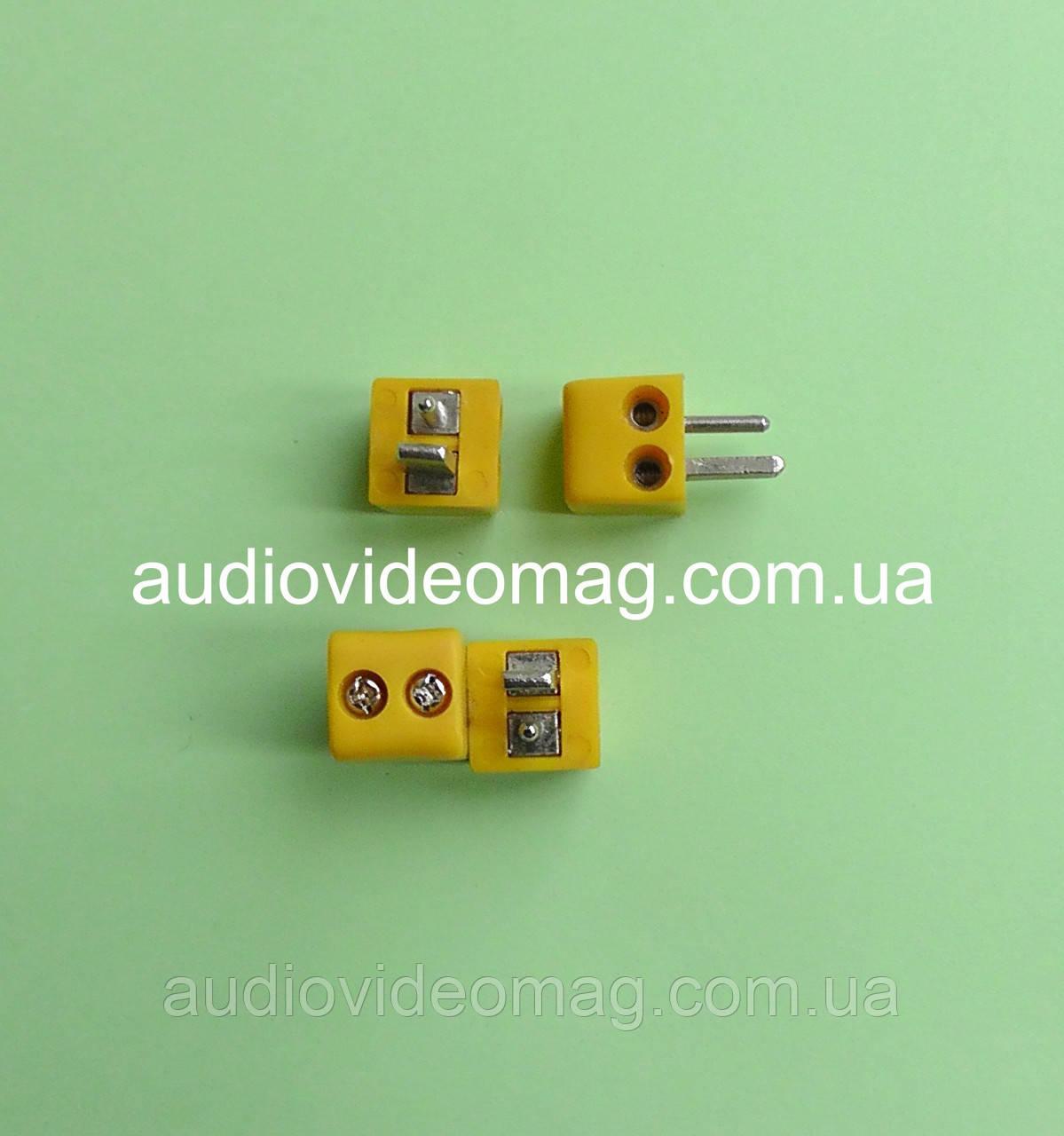 Штекер для аудио колонок (точка-тире), винтовое крепление, цвет желтый