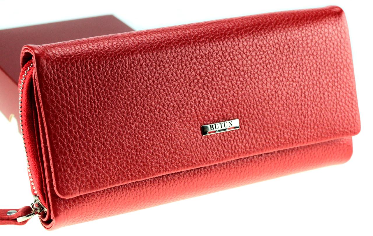 Большой женский кошелек кожаный красный BUTUN 587-004-006