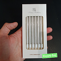 Свечи перламутр серебро в коробке 6шт.
