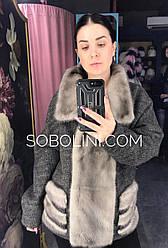Куртка с норкой, материал - кашемировая вязка, размер 46/48