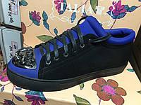 Женские туфли с металлическим носом и камнями с ярко синими вставками