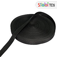 Лента ременная (стропа) 30мм черная (100м)