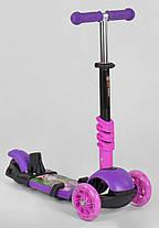 Самокат для малышей 5 в 1, Беговел Scooter - С родительской ручкой и подсветкой - Фиолетовый, фото 3