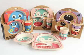 Детская бамбуковая посуда 5 в 1