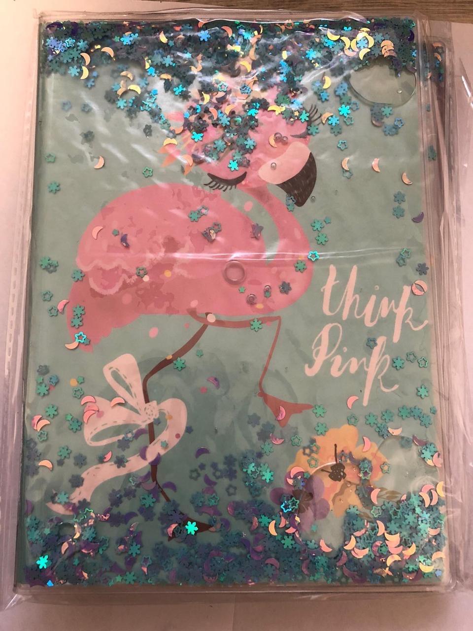 Блокнот с водой и блестками А5 80 листов Розовый фламинго