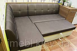 Кухонный угловой диван со спальным местом (Бронзовый кожзам)