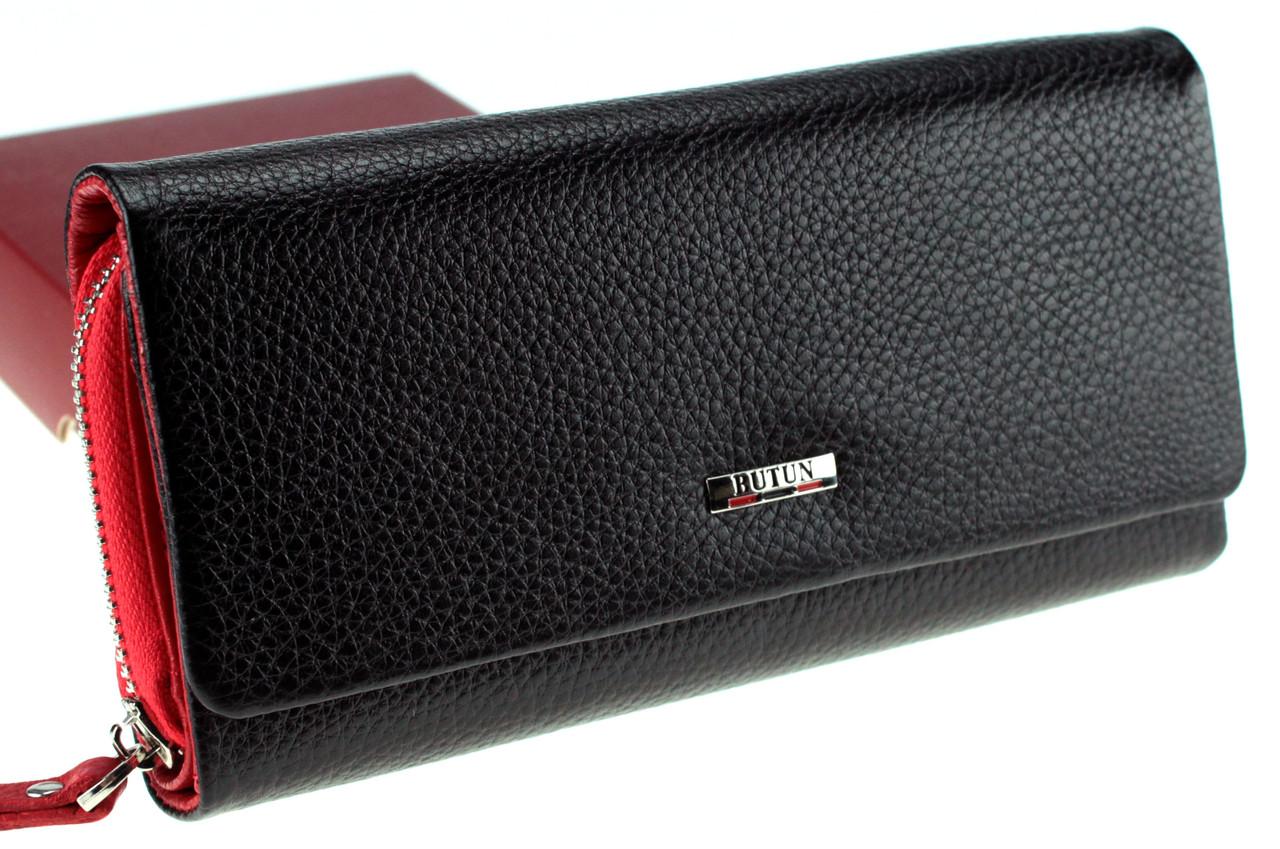Большой женский кошелек кожаный черный с красным BUTUN 587-004-039