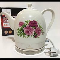 Чайник электрический CB 9112 Crownberg Ceramic, Чайник бытовой, Электрочайник керамический 1,5 л