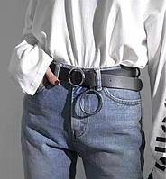 Ремень кожаный женский с кольцом 3 см модный черный стильный классический -2725