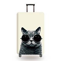 Защитный чехол для чемодана Кот в очках и другие модели, фото 1