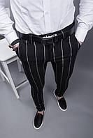 Чорні чоловічі брюки в полоску завужені до низу Брюки чёрные полосатые мужские узкие