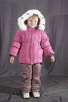 Зимний комбинезон для девочки  однотонный Бледно-розовый