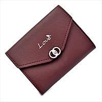 Женский мини кошелёк Weatro 3357-burgundy Бордовый (марсала)
