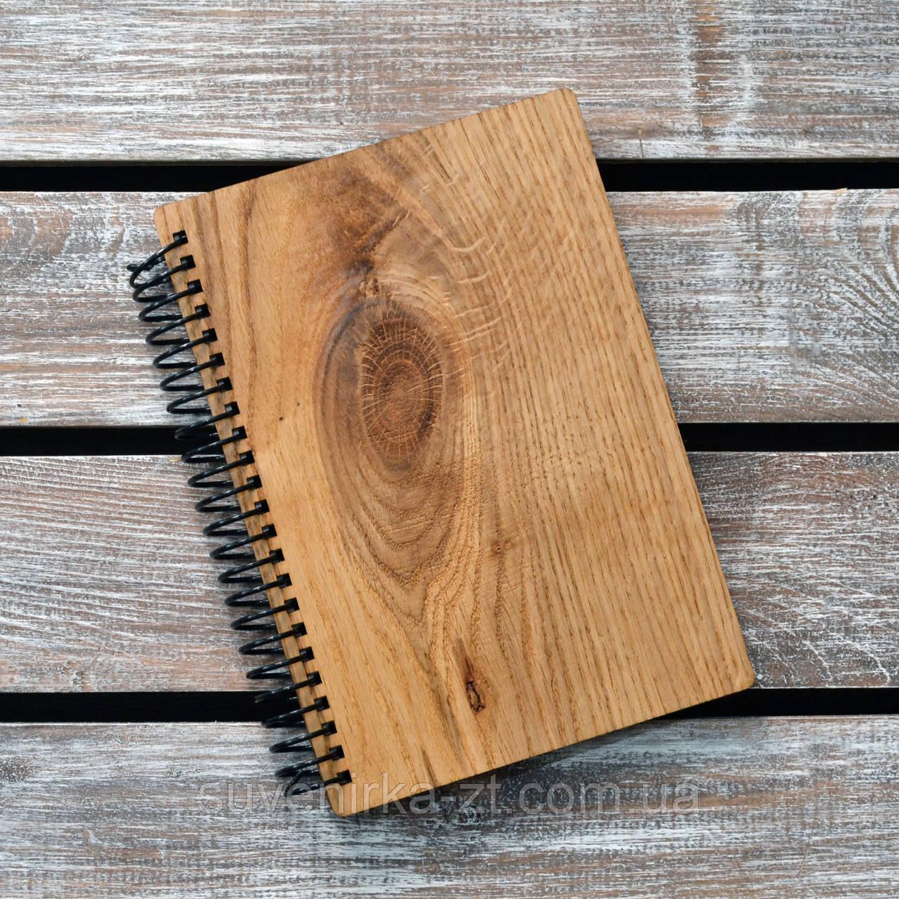 Блокнот с деревянной обложкой. Формат А5. Сменный блок. (А00416)