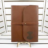 Кожаный блокнот M. Ежедневник А5 в в обложке из натуральной кожи с лазерной гравировкой лого