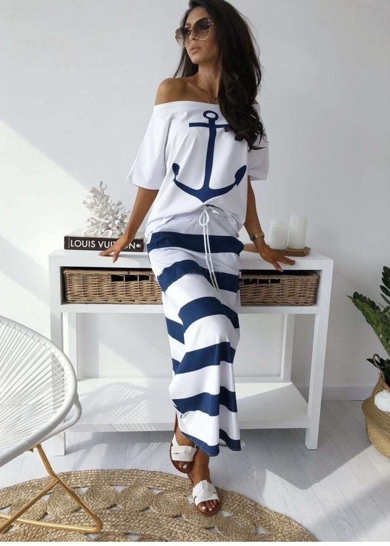 Женский модный костюм двойка(юбка + кофточка) с 42 по 48 рр вискоза