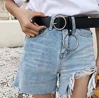 Ремень кожаный женский с кольцом 4 см модный черный классический на ждинсы шорты брюки-2725